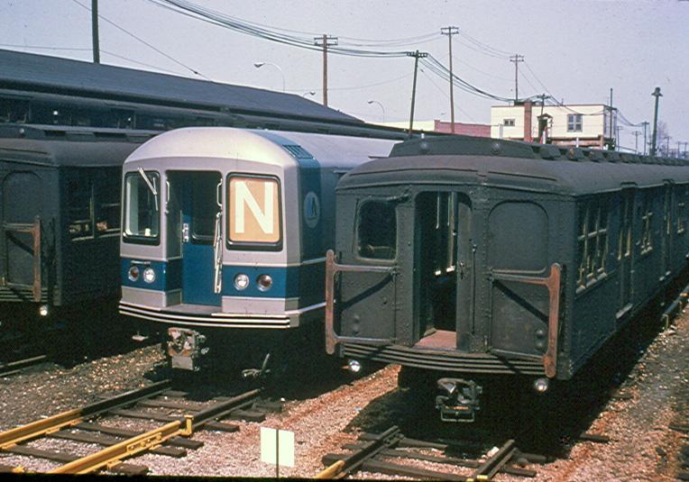 (237k, 764x535)<br><b>Country:</b> United States<br><b>City:</b> New York<br><b>System:</b> New York City Transit<br><b>Location:</b> Rockaway Parkway (Canarsie) Yard<br><b>Car:</b> R-40M (St. Louis, 1969)  4303 <br><b>Photo by:</b> Brian J. Cudahy<br><b>Date:</b> 4/9/1969<br><b>Viewed (this week/total):</b> 0 / 982