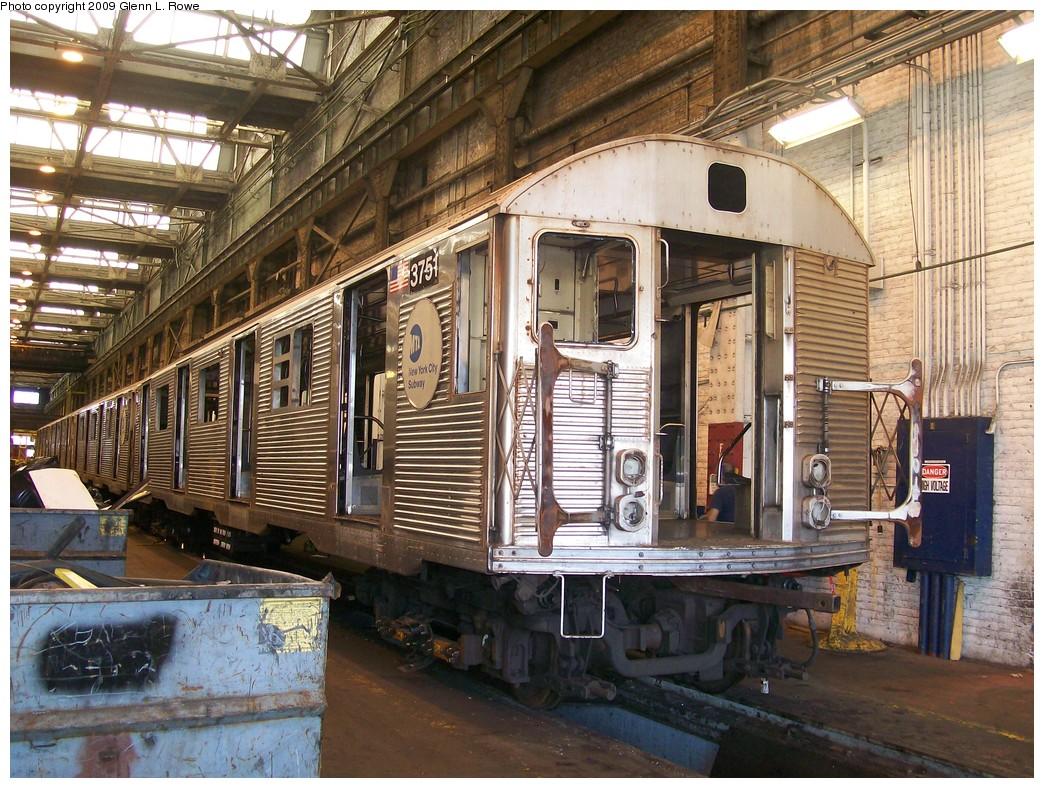 (290k, 1044x788)<br><b>Country:</b> United States<br><b>City:</b> New York<br><b>System:</b> New York City Transit<br><b>Location:</b> 207th Street Shop<br><b>Car:</b> R-32 (Budd, 1964)  3751 <br><b>Photo by:</b> Glenn L. Rowe<br><b>Date:</b> 8/19/2009<br><b>Notes:</b> On 13 track Main Shop (chop-shop)<br><b>Viewed (this week/total):</b> 1 / 808