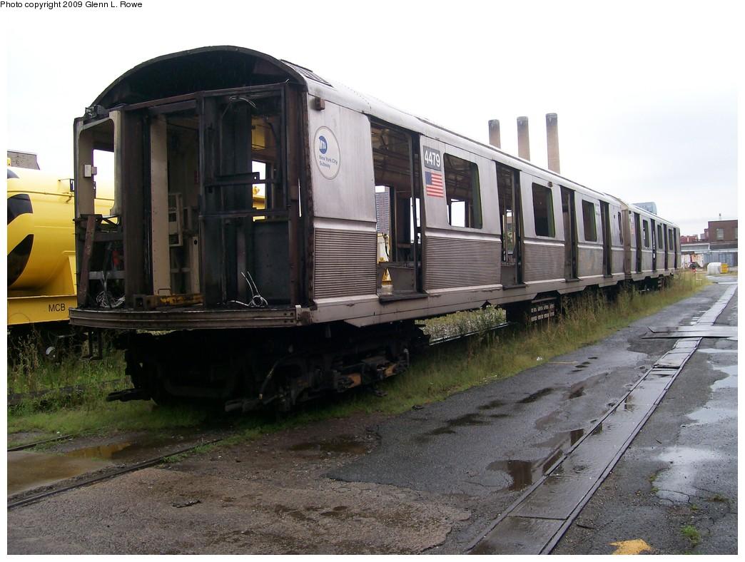(208k, 1044x788)<br><b>Country:</b> United States<br><b>City:</b> New York<br><b>System:</b> New York City Transit<br><b>Location:</b> 207th Street Shop<br><b>Car:</b> R-40M (St. Louis, 1969)  4479 <br><b>Photo by:</b> Glenn L. Rowe<br><b>Date:</b> 8/28/2009<br><b>Notes:</b> 23 track north, 207 St. Yard<br><b>Viewed (this week/total):</b> 1 / 907