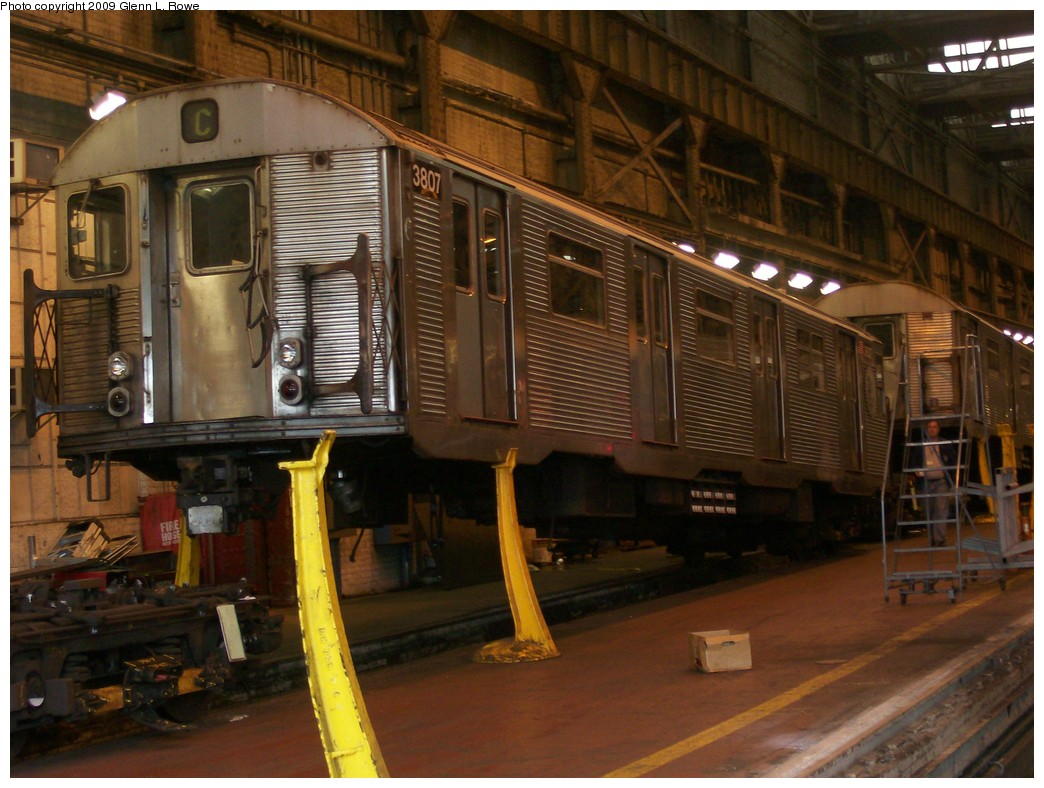 (211k, 1044x788)<br><b>Country:</b> United States<br><b>City:</b> New York<br><b>System:</b> New York City Transit<br><b>Location:</b> 207th Street Shop<br><b>Car:</b> R-32 (Budd, 1964)  3807 <br><b>Photo by:</b> Glenn L. Rowe<br><b>Date:</b> 8/28/2009<br><b>Notes:</b> On 2 track, 207 St. Main Shop<br><b>Viewed (this week/total):</b> 0 / 788