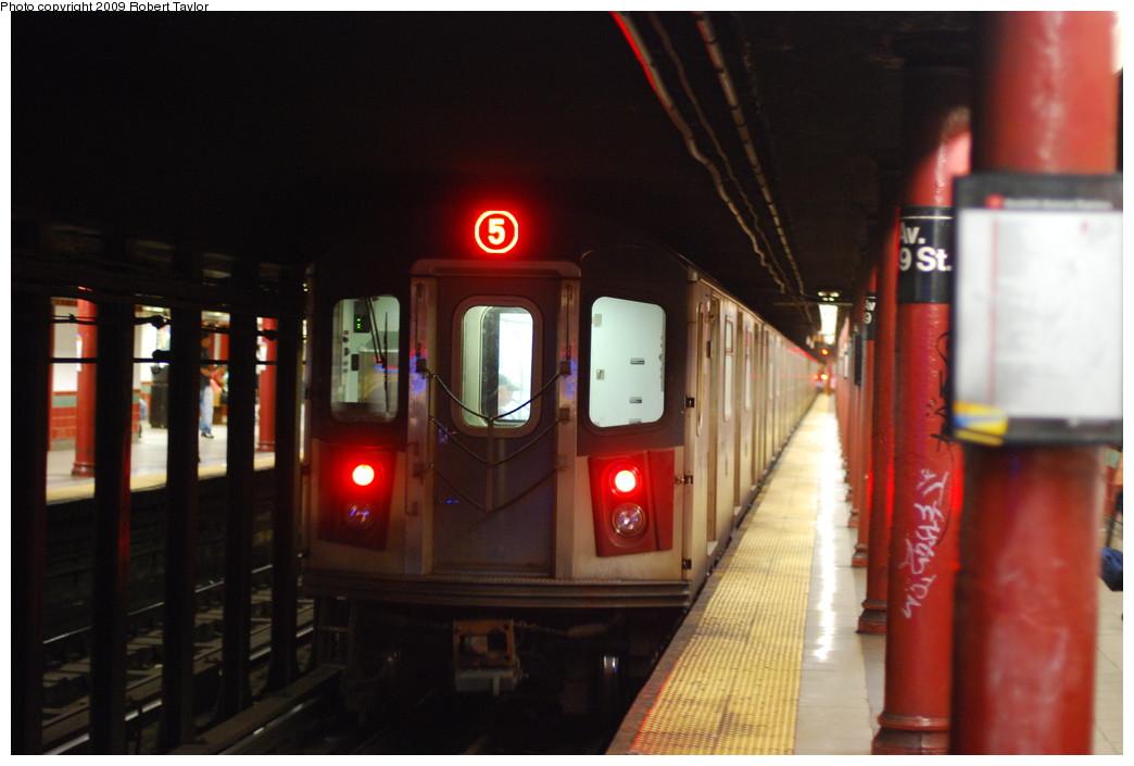 (205k, 1044x705)<br><b>Country:</b> United States<br><b>City:</b> New York<br><b>System:</b> New York City Transit<br><b>Line:</b> IRT White Plains Road Line<br><b>Location:</b> 3rd Avenue/149th Street <br><b>Route:</b> 5<br><b>Car:</b> R-142 or R-142A (Number Unknown)  <br><b>Photo by:</b> Robert Taylor<br><b>Date:</b> 7/10/2009<br><b>Viewed (this week/total):</b> 6 / 2621