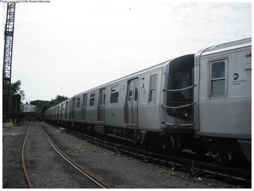 (167k, 1044x788)<br><b>Country:</b> United States<br><b>City:</b> New York<br><b>System:</b> New York City Transit<br><b>Location:</b> Rockaway Parkway (Canarsie) Yard<br><b>Car:</b> R-160A-1 (Alstom, 2005-2008, 4 car sets)  8577 <br><b>Photo by:</b> Robert Mencher<br><b>Date:</b> 9/7/2009<br><b>Viewed (this week/total):</b> 0 / 849