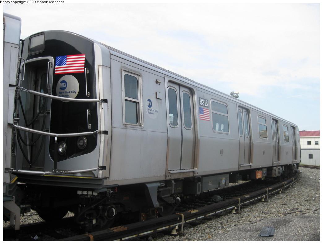(172k, 1044x788)<br><b>Country:</b> United States<br><b>City:</b> New York<br><b>System:</b> New York City Transit<br><b>Location:</b> Rockaway Parkway (Canarsie) Yard<br><b>Car:</b> R-160A-1 (Alstom, 2005-2008, 4 car sets)  8316 <br><b>Photo by:</b> Robert Mencher<br><b>Date:</b> 9/7/2009<br><b>Viewed (this week/total):</b> 1 / 1181