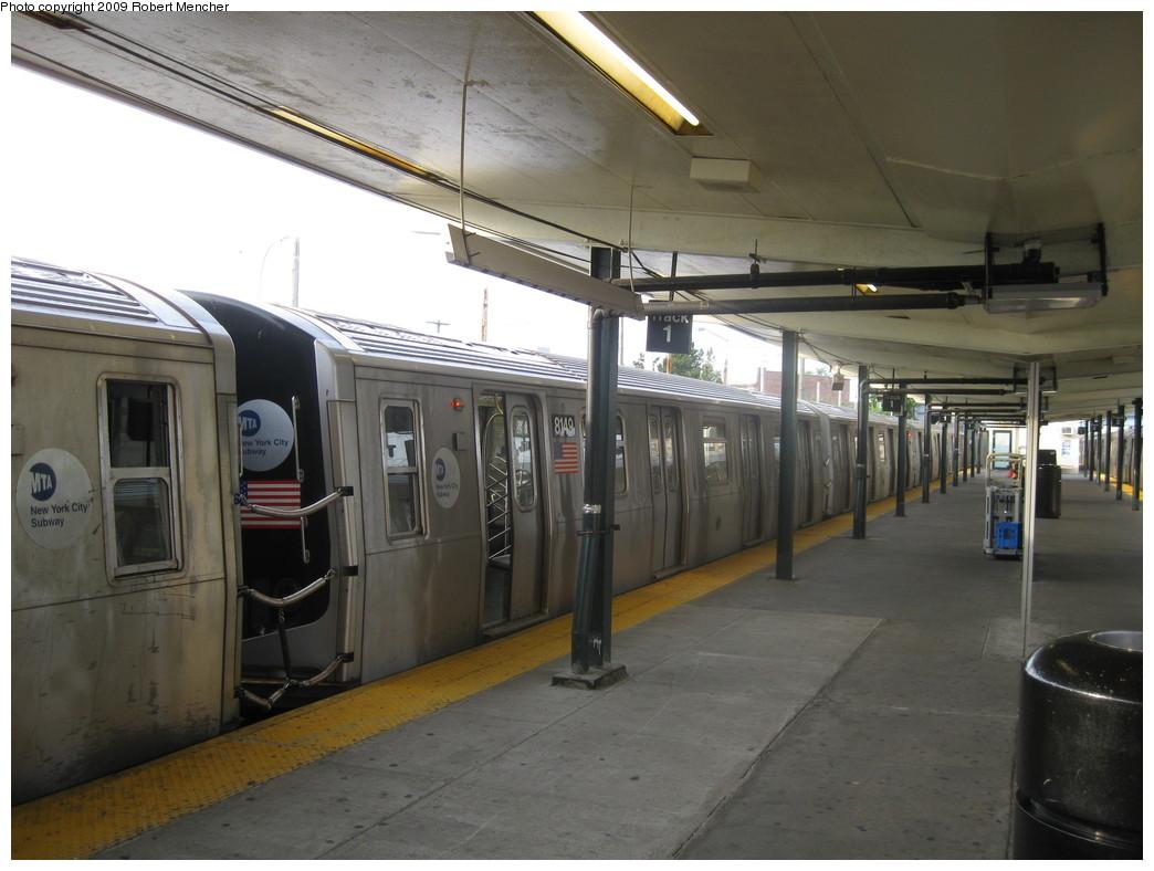 (187k, 1044x788)<br><b>Country:</b> United States<br><b>City:</b> New York<br><b>System:</b> New York City Transit<br><b>Line:</b> BMT Canarsie Line<br><b>Location:</b> Rockaway Parkway <br><b>Route:</b> L<br><b>Car:</b> R-143 (Kawasaki, 2001-2002) 8149 <br><b>Photo by:</b> Robert Mencher<br><b>Date:</b> 9/7/2009<br><b>Viewed (this week/total):</b> 0 / 1484