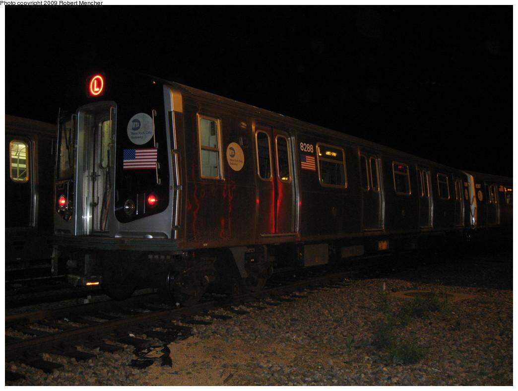 (174k, 1044x788)<br><b>Country:</b> United States<br><b>City:</b> New York<br><b>System:</b> New York City Transit<br><b>Location:</b> Rockaway Parkway (Canarsie) Yard<br><b>Car:</b> R-143 (Kawasaki, 2001-2002) 8288 <br><b>Photo by:</b> Robert Mencher<br><b>Date:</b> 9/7/2009<br><b>Viewed (this week/total):</b> 1 / 1072