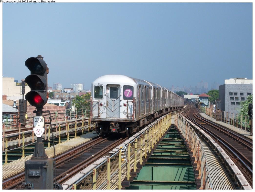 (256k, 1044x788)<br><b>Country:</b> United States<br><b>City:</b> New York<br><b>System:</b> New York City Transit<br><b>Line:</b> IRT Flushing Line<br><b>Location:</b> Junction Boulevard <br><b>Route:</b> 7<br><b>Car:</b> R-62A (Bombardier, 1984-1987)  1651 <br><b>Photo by:</b> Aliandro Brathwaite<br><b>Date:</b> 8/21/2009<br><b>Viewed (this week/total):</b> 7 / 1156