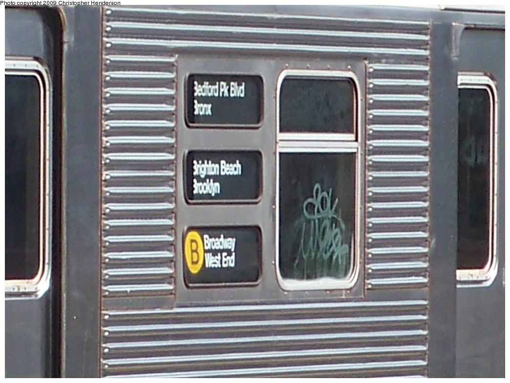 (197k, 1044x785)<br><b>Country:</b> United States<br><b>City:</b> New York<br><b>System:</b> New York City Transit<br><b>Line:</b> BMT Brighton Line<br><b>Location:</b> Ocean Parkway <br><b>Route:</b> B<br><b>Car:</b> R-32 (Budd, 1964)  3891 <br><b>Photo by:</b> Christopher Henderson<br><b>Date:</b> 9/15/2009<br><b>Notes:</b> Note yellow-B circle.<br><b>Viewed (this week/total):</b> 0 / 2135