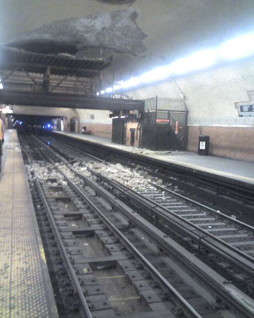 (36k, 512x640)<br><b>Country:</b> United States<br><b>City:</b> New York<br><b>System:</b> New York City Transit<br><b>Line:</b> IRT West Side Line<br><b>Location:</b> 181st Street <br><b>Date:</b> 8/16/2009<br><b>Notes:</b> Ceiling tile collapse at 181st St. about a half hour after it happened.<br><b>Viewed (this week/total):</b> 0 / 2574