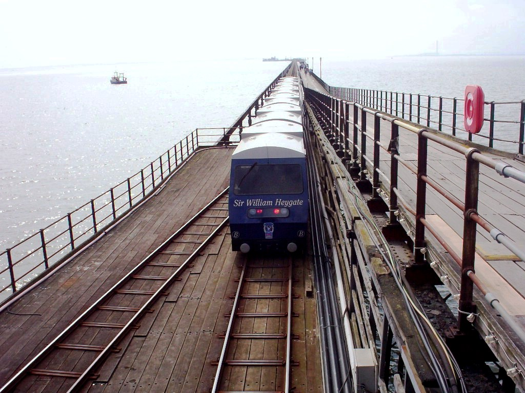 (228k, 1024x768)<br><b>Country:</b> United Kingdom<br><b>City:</b> Southend-on-Sea, Essex<br><b>System:</b> Southend Pier Railway<br><b>Photo by:</b> Dave Carson<br><b>Date:</b> 4/10/2009<br><b>Notes:</b> Train B 'Sir William Heygate' leaving shore end tunnel with the pier head just over 1 mile in the distance.<br><b>Viewed (this week/total):</b> 0 / 801
