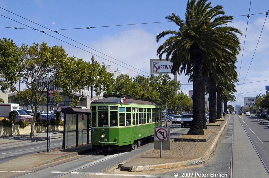 (262k, 930x618)<br><b>Country:</b> United States<br><b>City:</b> San Francisco/Bay Area, CA<br><b>System:</b> SF MUNI<br><b>Location:</b> Market/Church/14th <br><b>Car:</b> Milan Milano/Peter Witt (1927-1930)  1818 <br><b>Photo by:</b> Peter Ehrlich<br><b>Date:</b> 8/23/2009<br><b>Notes:</b> Outbound.<br><b>Viewed (this week/total):</b> 0 / 411