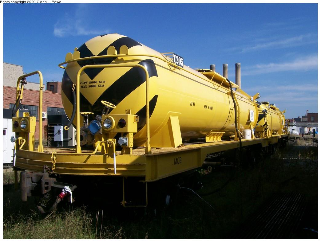 (202k, 1044x788)<br><b>Country:</b> United States<br><b>City:</b> New York<br><b>System:</b> New York City Transit<br><b>Location:</b> 207th Street Yard<br><b>Car:</b> R-66 Maintenance of Way Tank  205 <br><b>Photo by:</b> Glenn L. Rowe<br><b>Date:</b> 9/24/2009<br><b>Viewed (this week/total):</b> 0 / 1444