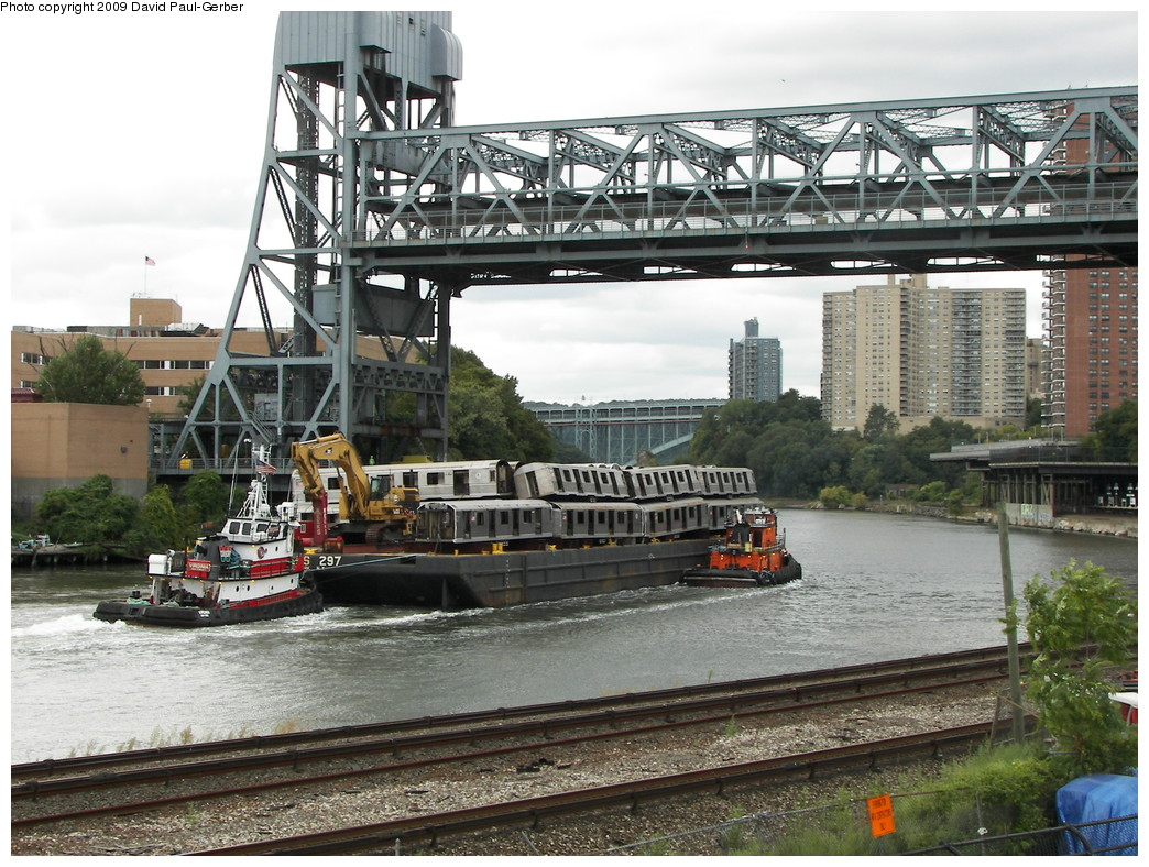 (329k, 1044x788)<br><b>Country:</b> United States<br><b>City:</b> New York<br><b>System:</b> New York City Transit<br><b>Location:</b> 207th Street Yard<br><b>Photo by:</b> David-Paul Gerber<br><b>Date:</b> 9/26/2009<br><b>Notes:</b> Barge-Scrapping<br><b>Viewed (this week/total):</b> 2 / 1527
