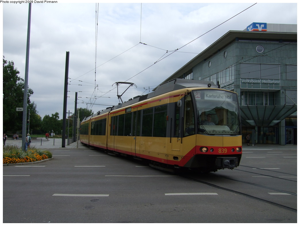 (172k, 1044x788)<br><b>Country:</b> Germany<br><b>City:</b> Heilbronn<br><b>System:</b> AVG (Albtal Verkehrsgesellschaft)<br><b>Location:</b> Heilbronn Harmonie (S4) <br><b>Car:</b> GT8-100D/2S-M  839 <br><b>Photo by:</b> David Pirmann<br><b>Date:</b> 9/11/2009<br><b>Viewed (this week/total):</b> 1 / 213