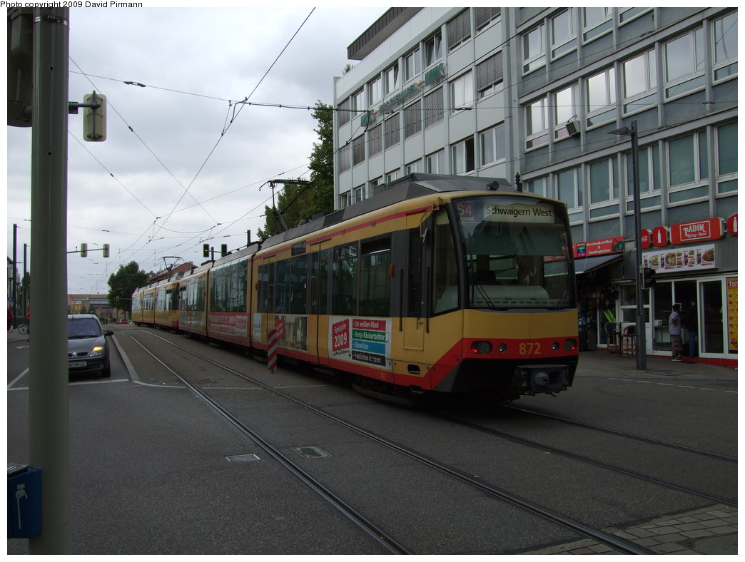 (216k, 1044x788)<br><b>Country:</b> Germany<br><b>City:</b> Heilbronn<br><b>System:</b> AVG (Albtal Verkehrsgesellschaft)<br><b>Location:</b> Heilbronn Kaiserstr./Gerberstr. (S4) <br><b>Car:</b> GT8-100D/2S-M  872 <br><b>Photo by:</b> David Pirmann<br><b>Date:</b> 9/11/2009<br><b>Viewed (this week/total):</b> 0 / 202