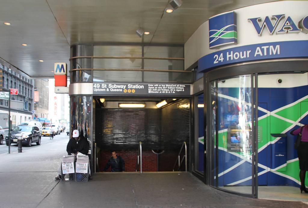 (100k, 1024x693)<br><b>Country:</b> United States<br><b>City:</b> New York<br><b>System:</b> New York City Transit<br><b>Line:</b> BMT Broadway Line<br><b>Location:</b> 49th Street <br><b>Photo by:</b> Robbie Rosenfeld<br><b>Date:</b> 10/5/2009<br><b>Notes:</b> 49th & Broadway entrance.<br><b>Viewed (this week/total):</b> 1 / 1948