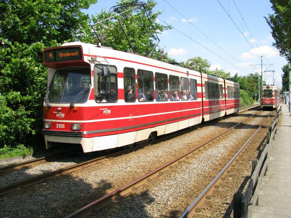 (200k, 1024x768)<br><b>Country:</b> The Netherlands<br><b>City:</b> The Hague<br><b>System:</b> HTM (Haagsche Tramweg Maatschappij) <br><b>Location:</b> Erasmusweg <br><b>Route:</b> 9<br><b>Car:</b> HTM GLT-8-2  3106  <br><b>Photo by:</b> Jos Straathof<br><b>Date:</b> 5/23/2009<br><b>Viewed (this week/total):</b> 1 / 327