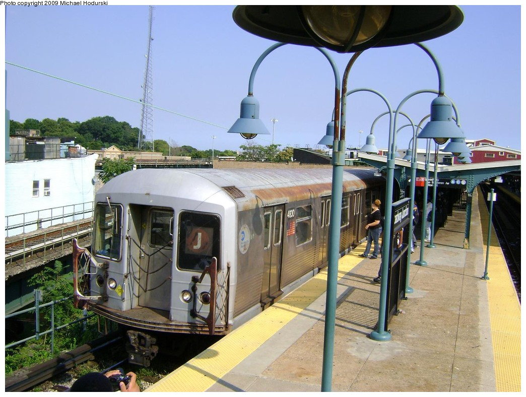 (246k, 1044x788)<br><b>Country:</b> United States<br><b>City:</b> New York<br><b>System:</b> New York City Transit<br><b>Line:</b> BMT Nassau Street/Jamaica Line<br><b>Location:</b> Broadway/East New York (Broadway Junction) <br><b>Route:</b> J<br><b>Car:</b> R-42 (St. Louis, 1969-1970)  4830 <br><b>Photo by:</b> Michael Hodurski<br><b>Date:</b> 8/25/2009<br><b>Viewed (this week/total):</b> 0 / 1193