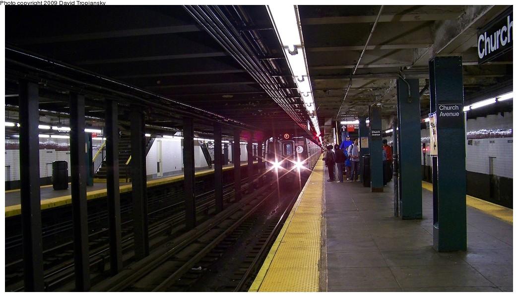 (186k, 1044x599)<br><b>Country:</b> United States<br><b>City:</b> New York<br><b>System:</b> New York City Transit<br><b>Line:</b> IND Crosstown Line<br><b>Location:</b> Church Avenue <br><b>Route:</b> F<br><b>Car:</b> R-160A (Option 1) (Alstom, 2008-2009, 5 car sets)  9388 <br><b>Photo by:</b> David Tropiansky<br><b>Date:</b> 10/10/2009<br><b>Notes:</b> R160 F train entering station on the express track<br><b>Viewed (this week/total):</b> 1 / 2476