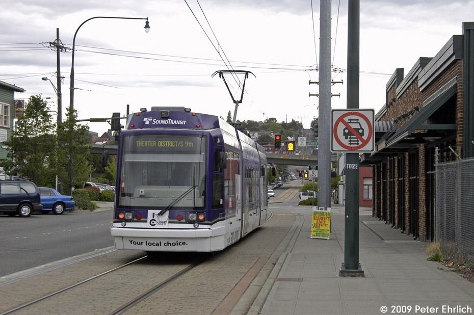 (195k, 930x618)<br><b>Country:</b> United States<br><b>City:</b> Tacoma, WA<br><b>System:</b> SoundTransit - Tacoma Link Light Rail<br><b>Location:</b> Tacoma Dome<br><b>Car:</b> Škoda/Inekon Astra 10T 1001 <br><b>Photo by:</b> Peter Ehrlich<br><b>Date:</b> 9/16/2009<br><b>Viewed (this week/total):</b> 2 / 1206