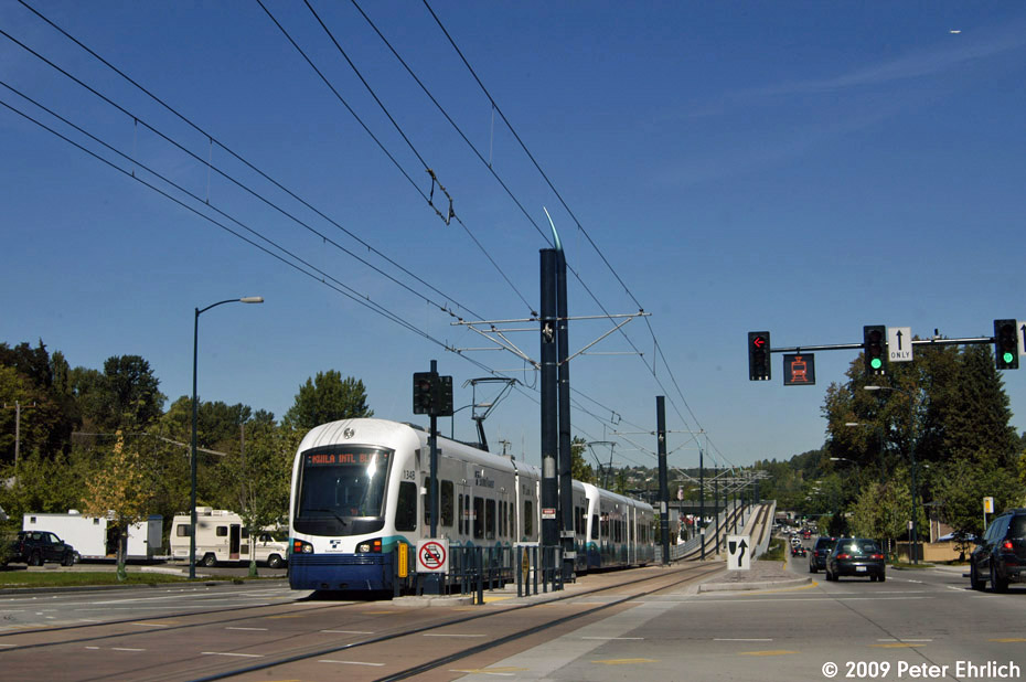 (177k, 930x618)<br><b>Country:</b> United States<br><b>City:</b> Seattle, WA<br><b>System:</b> Sound Transit LINK Light Rail<br><b>Location:</b> <b>Mount Baker</b> <br><b>Car:</b> SeattleLink LRV (Kinki-Sharyo, 2006-2009)  134 <br><b>Photo by:</b> Peter Ehrlich<br><b>Date:</b> 9/11/2009<br><b>Notes:</b> Outbound. The ramp from the viaduct at Mt. Baker Station is in the background.<br><b>Viewed (this week/total):</b> 0 / 613