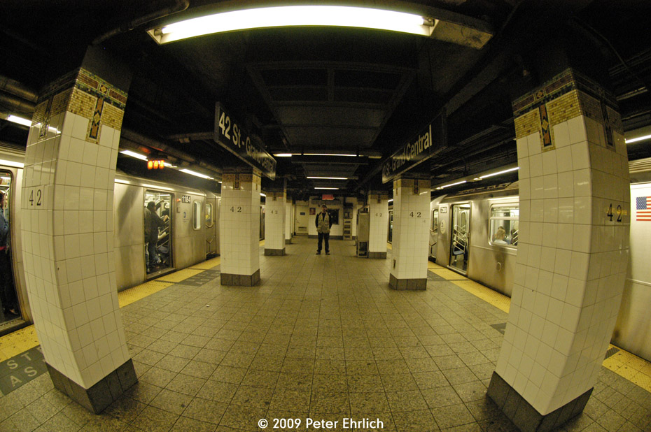 (219k, 930x618)<br><b>Country:</b> United States<br><b>City:</b> New York<br><b>System:</b> New York City Transit<br><b>Line:</b> IRT East Side Line<br><b>Location:</b> Grand Central <br><b>Route:</b> 4<br><b>Car:</b> R-142 (Option Order, Bombardier, 2002-2003)  1184 <br><b>Photo by:</b> Peter Ehrlich<br><b>Date:</b> 10/9/2009<br><b>Notes:</b> Express on left.  With 7399 on 6 Line on right.  Fisheye view.<br><b>Viewed (this week/total):</b> 0 / 1124
