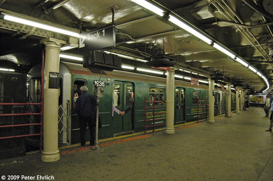 (266k, 930x618)<br><b>Country:</b> United States<br><b>City:</b> New York<br><b>System:</b> New York City Transit<br><b>Line:</b> IRT Times Square-Grand Central Shuttle<br><b>Location:</b> Times Square <br><b>Route:</b> S<br><b>Car:</b> R-62A (Bombardier, 1984-1987)  1936 <br><b>Photo by:</b> Peter Ehrlich<br><b>Date:</b> 10/9/2009<br><b>Viewed (this week/total):</b> 1 / 1180