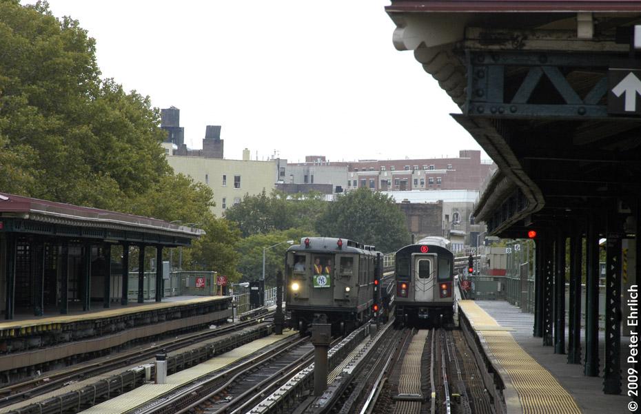 (204k, 930x601)<br><b>Country:</b> United States<br><b>City:</b> New York<br><b>System:</b> New York City Transit<br><b>Line:</b> IRT White Plains Road Line<br><b>Location:</b> Jackson Avenue <br><b>Route:</b> Fan Trip<br><b>Car:</b> Low-V (Museum Train) 5443 <br><b>Photo by:</b> Peter Ehrlich<br><b>Date:</b> 10/9/2009<br><b>Notes:</b> With R142 7001 outbound.<br><b>Viewed (this week/total):</b> 3 / 1195