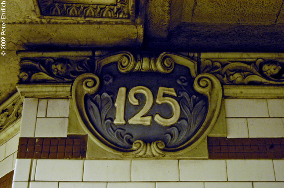 (264k, 930x618)<br><b>Country:</b> United States<br><b>City:</b> New York<br><b>System:</b> New York City Transit<br><b>Line:</b> IRT Lenox Line<br><b>Location:</b> 125th Street <br><b>Photo by:</b> Peter Ehrlich<br><b>Date:</b> 10/9/2009<br><b>Notes:</b> Tilework.<br><b>Viewed (this week/total):</b> 3 / 916