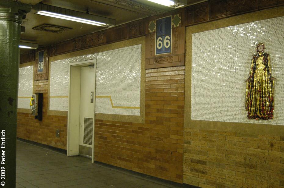 (232k, 930x617)<br><b>Country:</b> United States<br><b>City:</b> New York<br><b>System:</b> New York City Transit<br><b>Line:</b> IRT West Side Line<br><b>Location:</b> 66th Street/Lincoln Center <br><b>Photo by:</b> Peter Ehrlich<br><b>Date:</b> 10/9/2009<br><b>Notes:</b> Tilework.<br><b>Viewed (this week/total):</b> 0 / 1087