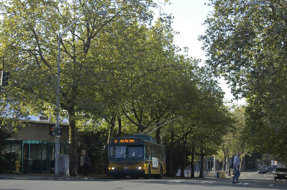 (359k, 930x618)<br><b>Country:</b> United States<br><b>City:</b> Seattle, WA<br><b>System:</b> King Country Metro<br><b>Car:</b> Seattle Gillig Trolley Coach 4101 <br><b>Photo by:</b> Peter Ehrlich<br><b>Date:</b> 9/11/2009<br><b>Notes:</b> 1st Ave. N./N. Republican.  Line 13 outbound.<br><b>Viewed (this week/total):</b> 1 / 1357