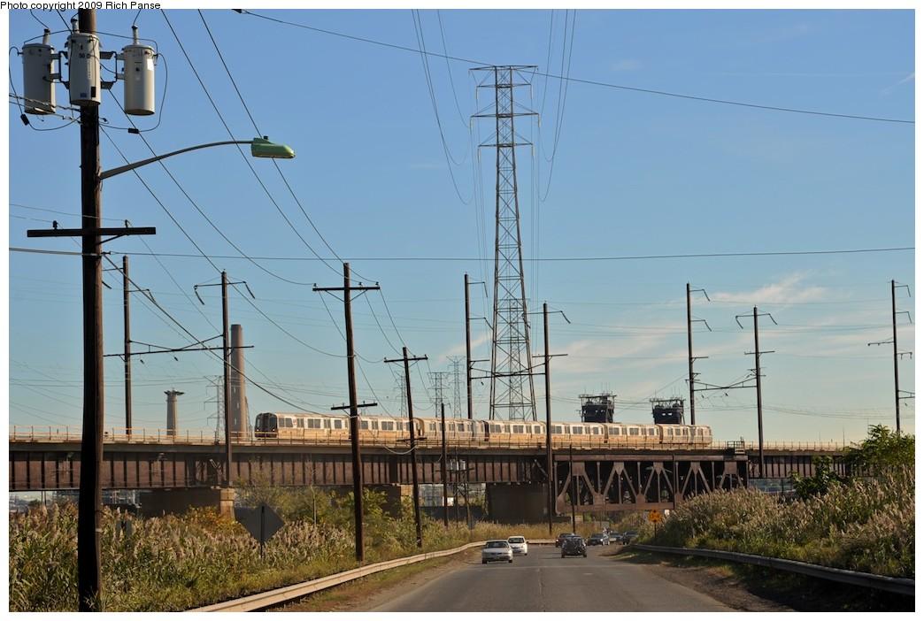 (181k, 1044x702)<br><b>Country:</b> United States<br><b>City:</b> Kearny, NJ<br><b>System:</b> PATH<br><b>Location:</b> Kearny-Hack Bridge <br><b>Car:</b> PATH PA-1 (St. Louis Car, 1965)  640 <br><b>Photo by:</b> Richard Panse<br><b>Date:</b> 10/11/2009<br><b>Notes:</b> View from Fish House Road<br><b>Viewed (this week/total):</b> 0 / 1173
