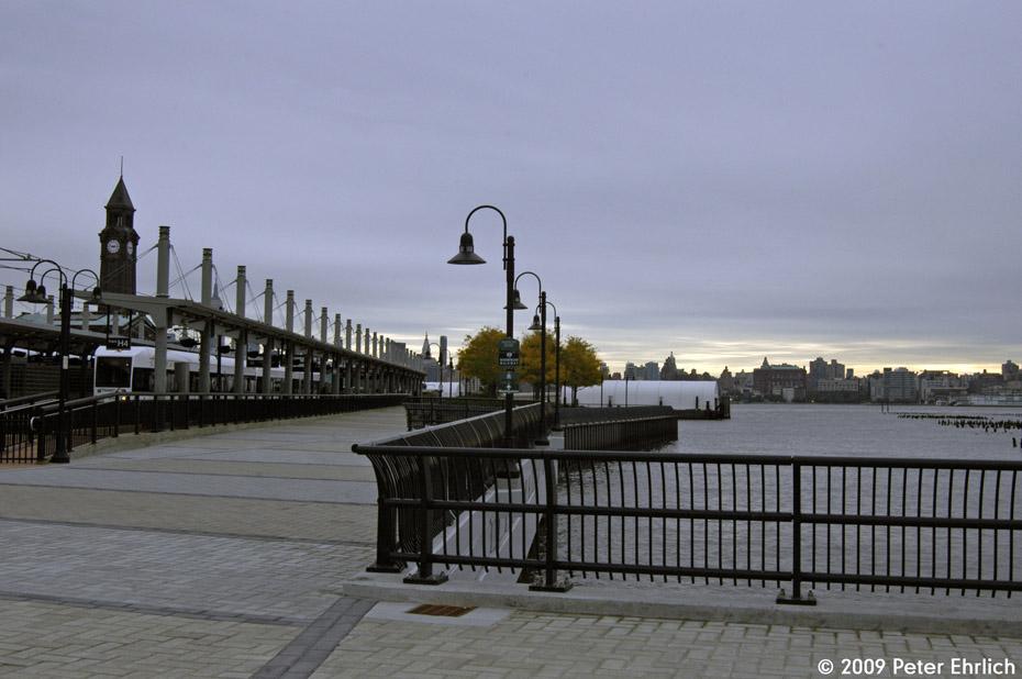 (158k, 930x618)<br><b>Country:</b> United States<br><b>City:</b> Hoboken, NJ<br><b>System:</b> Hudson Bergen Light Rail<br><b>Location:</b> Hoboken <br><b>Car:</b> NJT-HBLR LRV (Kinki-Sharyo, 1998-99)  2012 <br><b>Photo by:</b> Peter Ehrlich<br><b>Date:</b> 10/9/2009<br><b>Viewed (this week/total):</b> 3 / 338