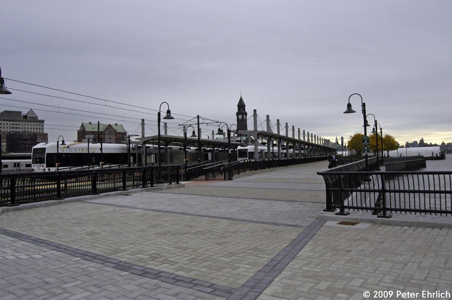 (169k, 930x618)<br><b>Country:</b> United States<br><b>City:</b> Hoboken, NJ<br><b>System:</b> Hudson Bergen Light Rail<br><b>Location:</b> Hoboken <br><b>Car:</b> NJT-HBLR LRV (Kinki-Sharyo, 1998-99)  2043 <br><b>Photo by:</b> Peter Ehrlich<br><b>Date:</b> 10/9/2009<br><b>Viewed (this week/total):</b> 0 / 300
