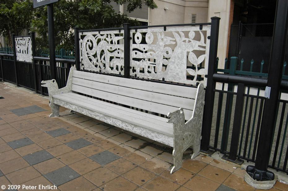(230k, 930x618)<br><b>Country:</b> United States<br><b>City:</b> Jersey City, NJ<br><b>System:</b> Hudson Bergen Light Rail<br><b>Location:</b> Harsimus Cove <br><b>Photo by:</b> Peter Ehrlich<br><b>Date:</b> 10/9/2009<br><b>Notes:</b> Artwork built into the bench.<br><b>Viewed (this week/total):</b> 1 / 328