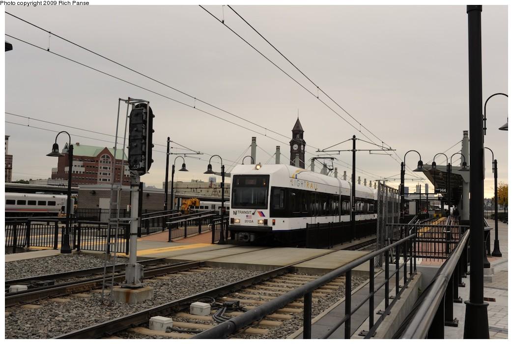 (175k, 1044x701)<br><b>Country:</b> United States<br><b>City:</b> Hoboken, NJ<br><b>System:</b> Hudson Bergen Light Rail<br><b>Location:</b> Hoboken <br><b>Car:</b> NJT-HBLR LRV (Kinki-Sharyo, 1998-99)  2012 <br><b>Photo by:</b> Richard Panse<br><b>Date:</b> 10/9/2009<br><b>Viewed (this week/total):</b> 0 / 388