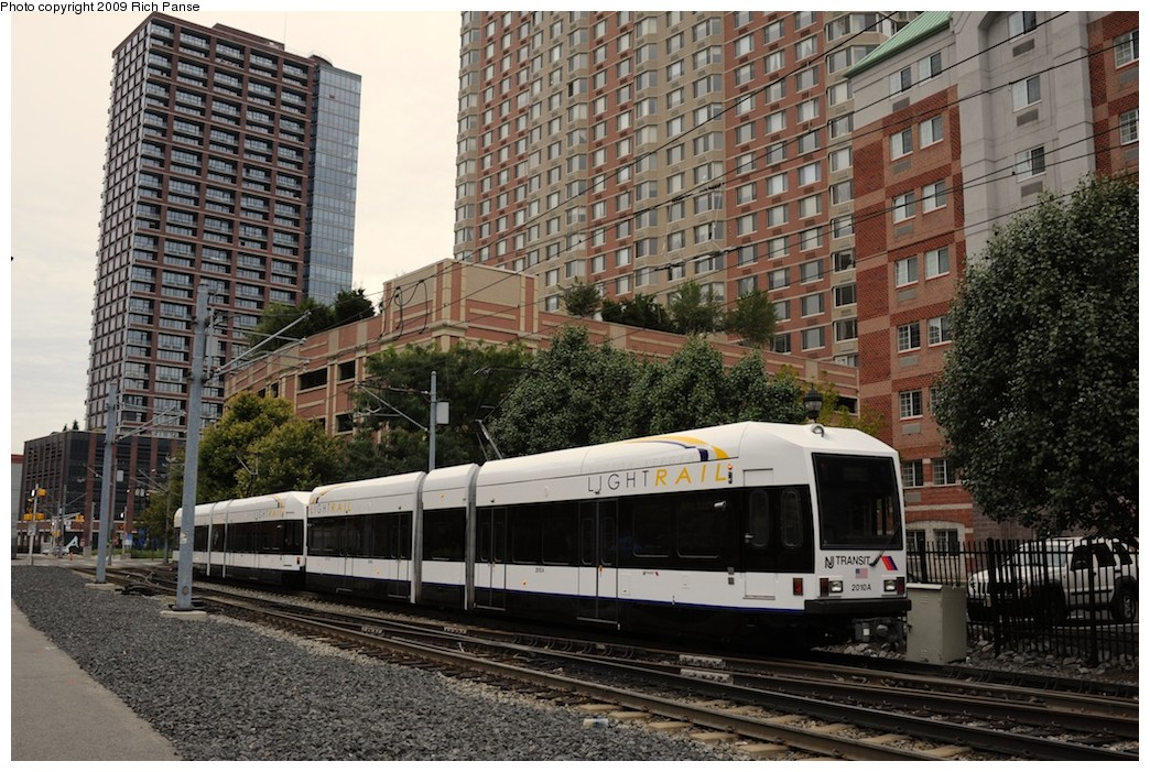 (252k, 1044x701)<br><b>Country:</b> United States<br><b>City:</b> Jersey City, NJ<br><b>System:</b> Hudson Bergen Light Rail<br><b>Location:</b> Harborside <br><b>Car:</b> NJT-HBLR LRV (Kinki-Sharyo, 1998-99)  2010 <br><b>Photo by:</b> Richard Panse<br><b>Date:</b> 10/9/2009<br><b>Viewed (this week/total):</b> 3 / 588