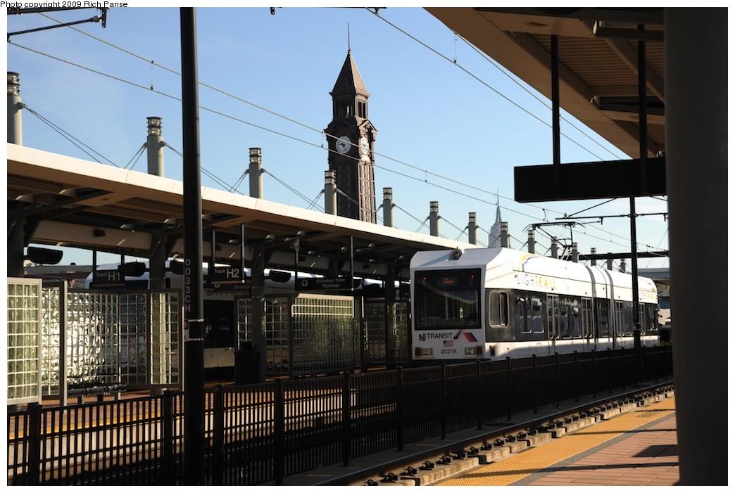 (182k, 1044x701)<br><b>Country:</b> United States<br><b>City:</b> Hoboken, NJ<br><b>System:</b> Hudson Bergen Light Rail<br><b>Location:</b> Hoboken <br><b>Car:</b> NJT-HBLR LRV (Kinki-Sharyo, 1998-99)  2027 <br><b>Photo by:</b> Richard Panse<br><b>Date:</b> 10/11/2009<br><b>Viewed (this week/total):</b> 1 / 574