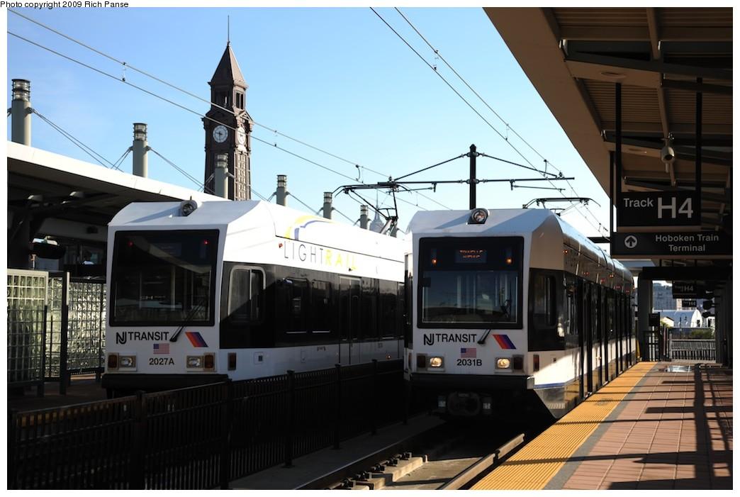 (163k, 1044x701)<br><b>Country:</b> United States<br><b>City:</b> Hoboken, NJ<br><b>System:</b> Hudson Bergen Light Rail<br><b>Location:</b> Hoboken <br><b>Car:</b> NJT-HBLR LRV (Kinki-Sharyo, 1998-99)  2027/2031 <br><b>Photo by:</b> Richard Panse<br><b>Date:</b> 10/11/2009<br><b>Viewed (this week/total):</b> 0 / 428