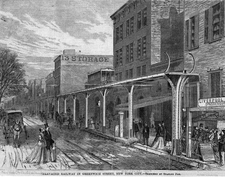 (179k, 725x572)<br><b>Country:</b> United States<br><b>City:</b> New York<br><b>System:</b> New York City Transit<br><b>Line:</b> 9th Avenue El<br><b>Location:</b> Greenwich Street <br><b>Collection of:</b> Herbert P. Maruska<br><b>Date:</b> 1867<br><b>Viewed (this week/total):</b> 0 / 1031