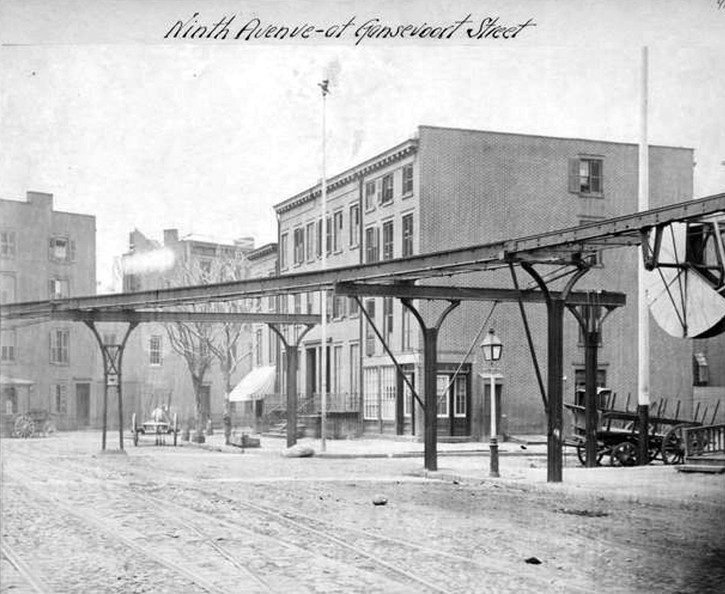 (106k, 725x594)<br><b>Country:</b> United States<br><b>City:</b> New York<br><b>System:</b> New York City Transit<br><b>Line:</b> 9th Avenue El<br><b>Location:</b> Gansevoort Street <br><b>Collection of:</b> Herbert P. Maruska<br><b>Date:</b> 1867<br><b>Viewed (this week/total):</b> 1 / 961