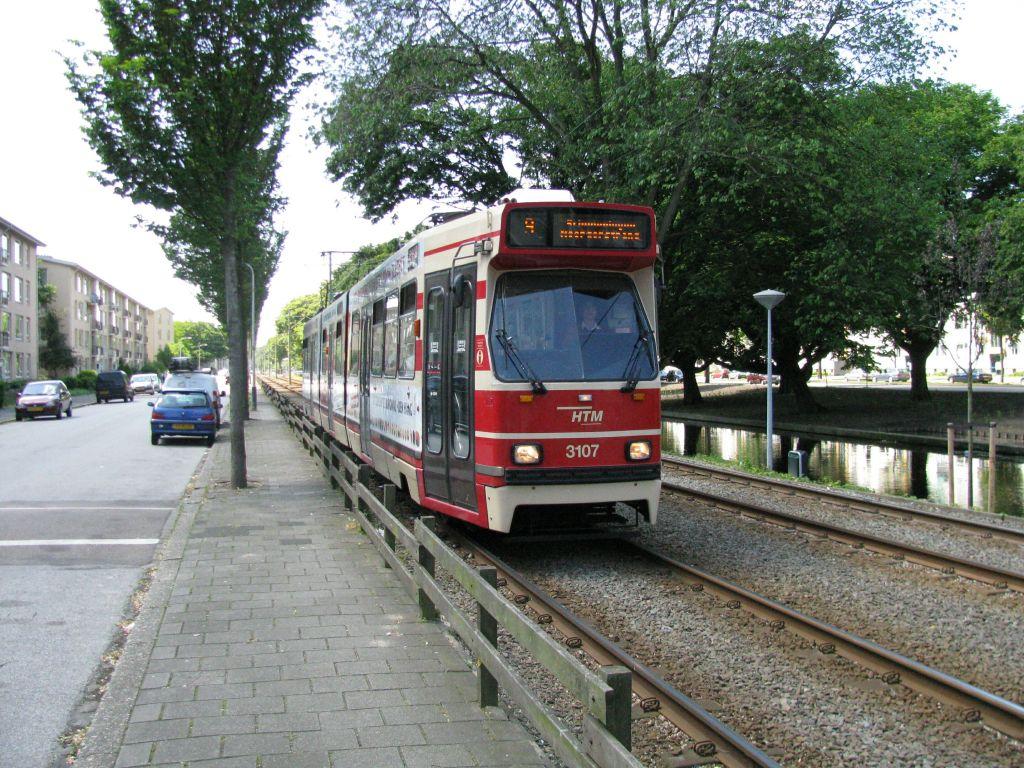 (195k, 1024x768)<br><b>Country:</b> The Netherlands<br><b>City:</b> The Hague<br><b>System:</b> HTM (Haagsche Tramweg Maatschappij) <br><b>Location:</b> Erasmusweg <br><b>Route:</b> 9<br><b>Car:</b> HTM GLT-8-2  3107  <br><b>Photo by:</b> Jos Straathof<br><b>Date:</b> 5/23/2009<br><b>Viewed (this week/total):</b> 0 / 417