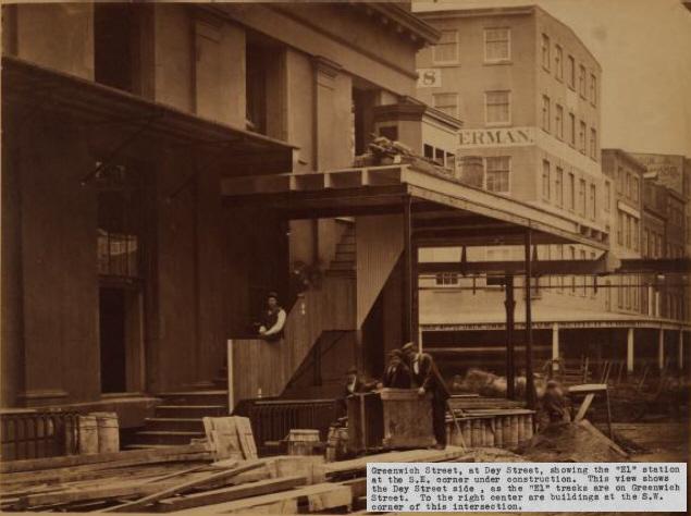 (129k, 635x474)<br><b>Country:</b> United States<br><b>City:</b> New York<br><b>System:</b> New York City Transit<br><b>Line:</b> 9th Avenue El<br><b>Location:</b> Greenwich & Dey <br><b>Collection of:</b> Herbert P. Maruska<br><b>Date:</b> 1867<br><b>Viewed (this week/total):</b> 1 / 978