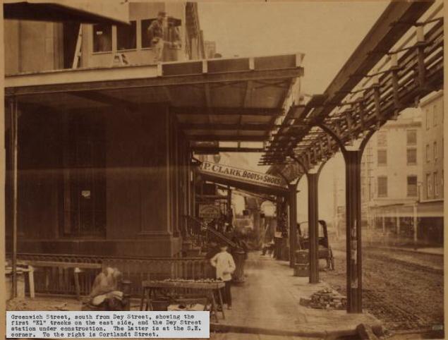 (131k, 635x482)<br><b>Country:</b> United States<br><b>City:</b> New York<br><b>System:</b> New York City Transit<br><b>Line:</b> 9th Avenue El<br><b>Location:</b> Greenwich & Dey <br><b>Collection of:</b> Herbert P. Maruska<br><b>Date:</b> 1867<br><b>Viewed (this week/total):</b> 0 / 914