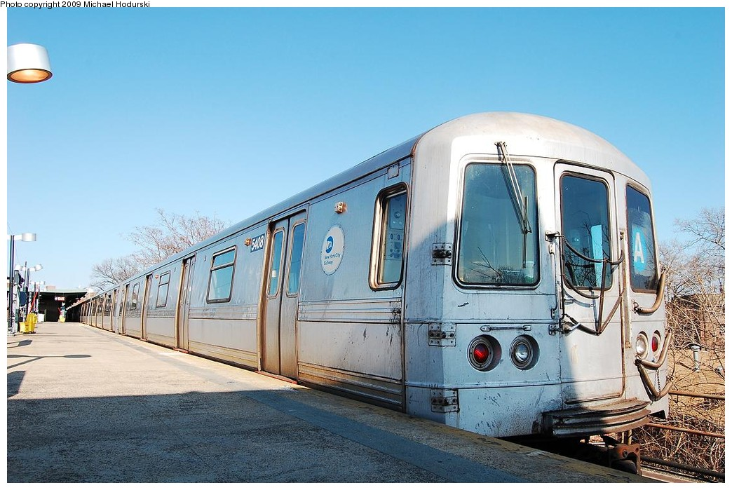 (241k, 1044x699)<br><b>Country:</b> United States<br><b>City:</b> New York<br><b>System:</b> New York City Transit<br><b>Line:</b> IND Rockaway<br><b>Location:</b> Mott Avenue/Far Rockaway <br><b>Route:</b> A<br><b>Car:</b> R-44 (St. Louis, 1971-73) 5408 <br><b>Photo by:</b> Michael Hodurski<br><b>Date:</b> 4/8/2008<br><b>Viewed (this week/total):</b> 0 / 697