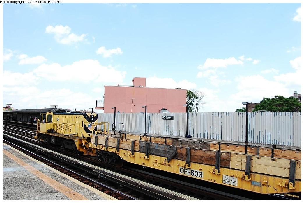 (225k, 1044x699)<br><b>Country:</b> United States<br><b>City:</b> New York<br><b>System:</b> New York City Transit<br><b>Line:</b> BMT West End Line<br><b>Location:</b> 50th Street <br><b>Route:</b> Work Service<br><b>Car:</b> Flat Car 603 <br><b>Photo by:</b> Michael Hodurski<br><b>Date:</b> 5/30/2009<br><b>Viewed (this week/total):</b> 3 / 840