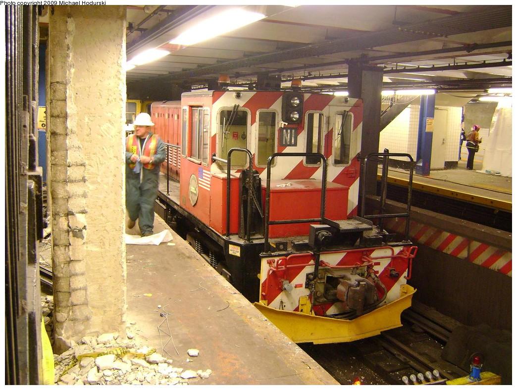 (280k, 1044x788)<br><b>Country:</b> United States<br><b>City:</b> New York<br><b>System:</b> New York City Transit<br><b>Line:</b> IND 8th Avenue Line<br><b>Location:</b> Jay St./Metrotech (Borough Hall) <br><b>Route:</b> Work Service<br><b>Car:</b> R-47 (SBK) Locomotive  N1 <br><b>Photo by:</b> Michael Hodurski<br><b>Date:</b> 3/8/2009<br><b>Viewed (this week/total):</b> 3 / 1236