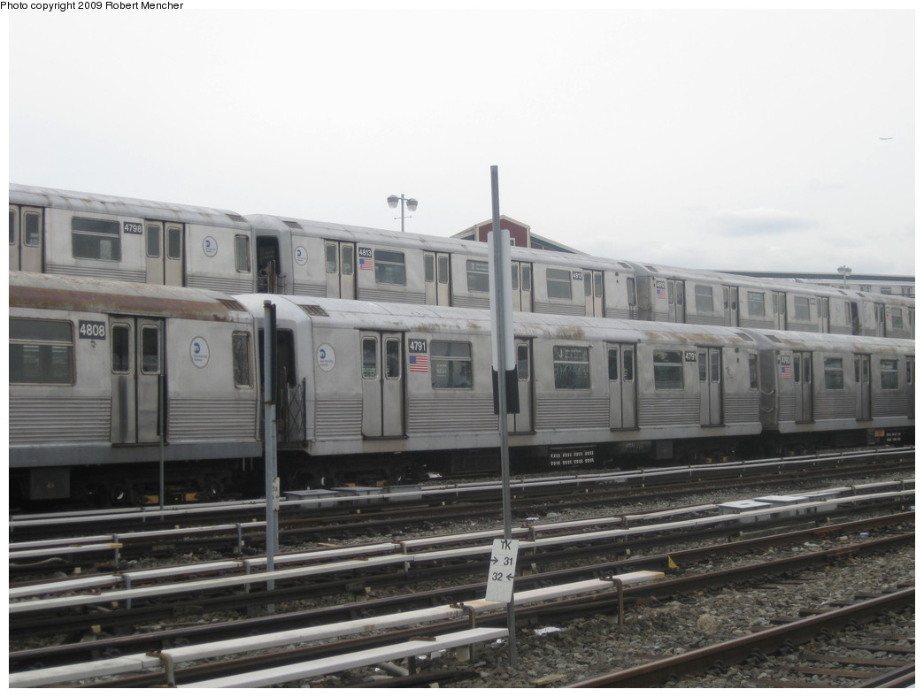 (169k, 1044x788)<br><b>Country:</b> United States<br><b>City:</b> New York<br><b>System:</b> New York City Transit<br><b>Location:</b> East New York Yard/Shops<br><b>Car:</b> R-42 (St. Louis, 1969-1970)  4798, 4813, 4808, 4791 <br><b>Photo by:</b> Robert Mencher<br><b>Date:</b> 10/14/2009<br><b>Viewed (this week/total):</b> 8 / 926