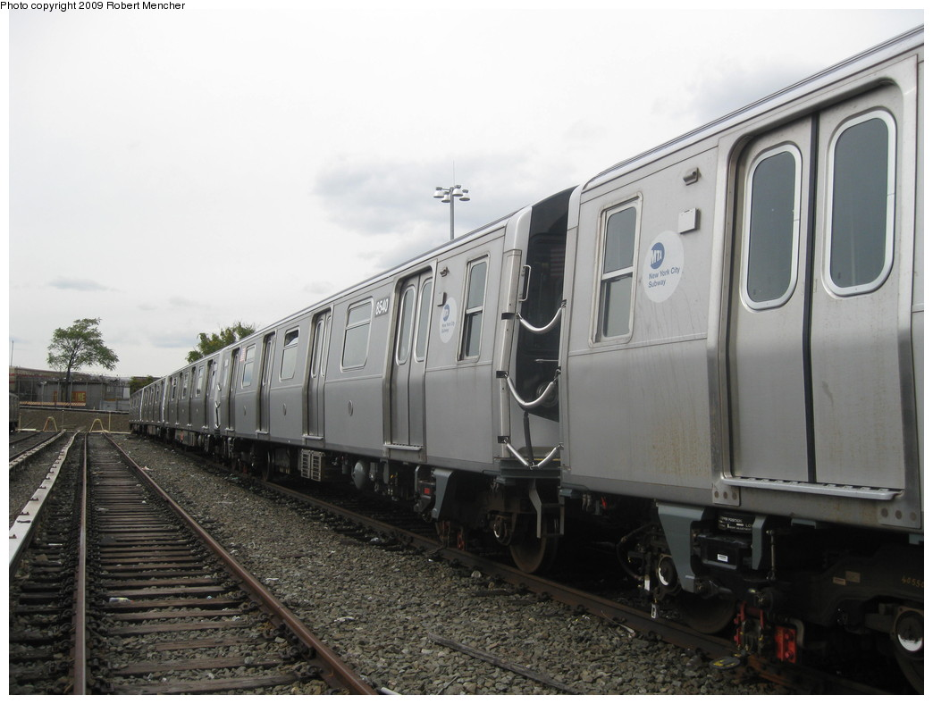 (182k, 1044x788)<br><b>Country:</b> United States<br><b>City:</b> New York<br><b>System:</b> New York City Transit<br><b>Location:</b> East New York Yard/Shops<br><b>Car:</b> R-160A-1 (Alstom, 2005-2008, 4 car sets)  8540 <br><b>Photo by:</b> Robert Mencher<br><b>Date:</b> 10/14/2009<br><b>Viewed (this week/total):</b> 0 / 660