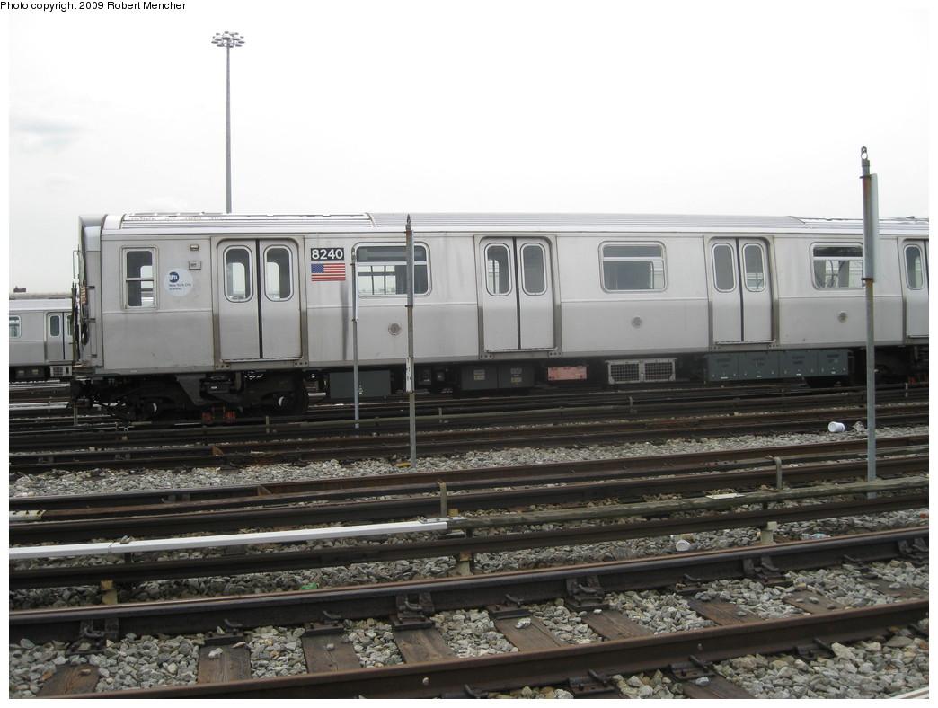 (192k, 1044x788)<br><b>Country:</b> United States<br><b>City:</b> New York<br><b>System:</b> New York City Transit<br><b>Location:</b> East New York Yard/Shops<br><b>Car:</b> R-143 (Kawasaki, 2001-2002) 8240 <br><b>Photo by:</b> Robert Mencher<br><b>Date:</b> 10/14/2009<br><b>Viewed (this week/total):</b> 0 / 821