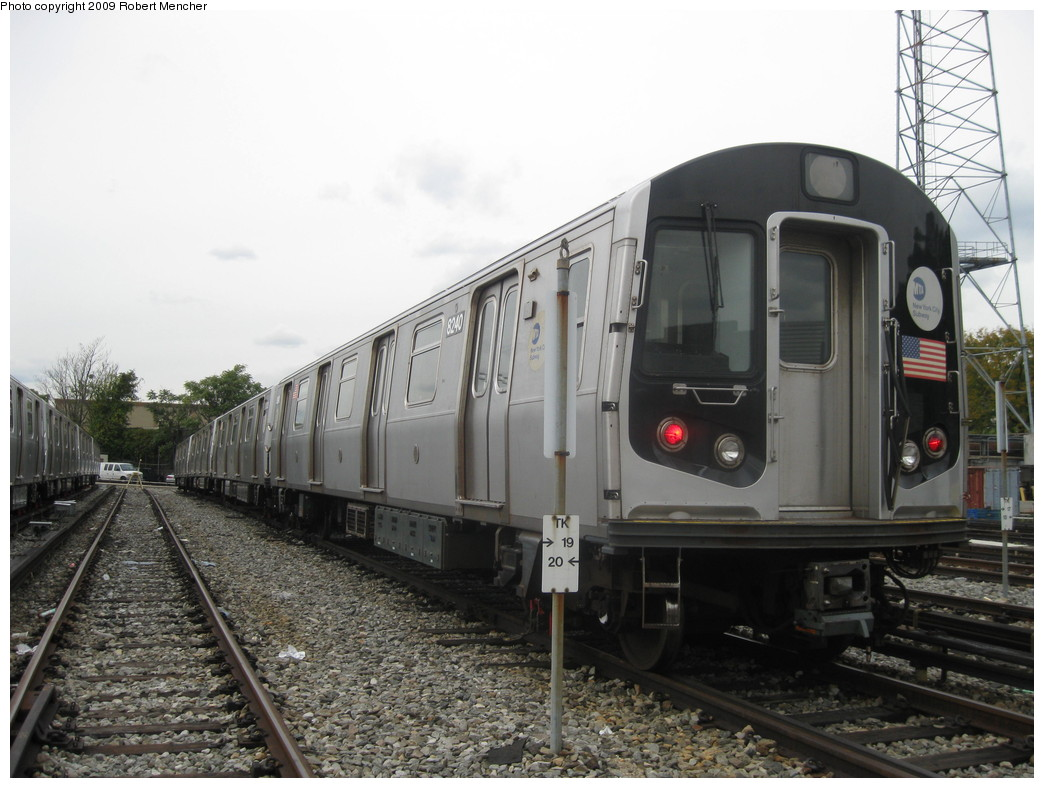 (203k, 1044x788)<br><b>Country:</b> United States<br><b>City:</b> New York<br><b>System:</b> New York City Transit<br><b>Location:</b> East New York Yard/Shops<br><b>Car:</b> R-143 (Kawasaki, 2001-2002) 8240 <br><b>Photo by:</b> Robert Mencher<br><b>Date:</b> 10/14/2009<br><b>Viewed (this week/total):</b> 0 / 666